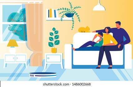 Cartoon Happy Family Rest while Robot Vacuum Cleaner Hoovering. FLat Father, Mother, Son and Cat Sitting on Sofa. Parents, Child and Pet Having Rest. Household Robotic Helper. Vector Illustration