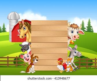Cartoon happy farm animals holding wooden sign