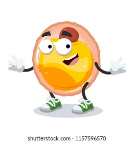 cartoon happy fat cell mascot smiling on white background