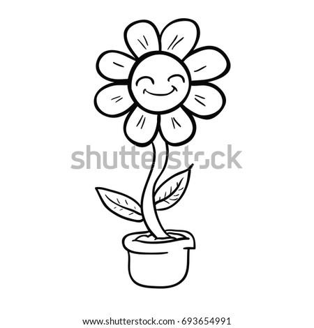 Cartoon Happy Flower Pot Black White Stock Vector Royalty Free
