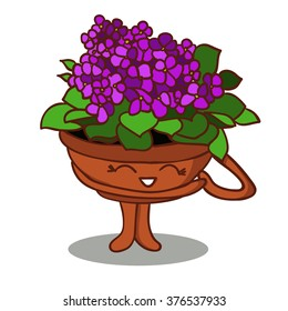 Cartoon happy flower in a pot.violet flowers