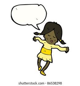 cartoon happy girl dancing