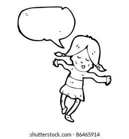 cartoon happy girl with speech bubble dancing