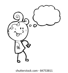 cartoon happy girl with thought bubble