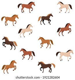 Cartoon happy horse - seamless trendy pattern with animal in various poses. Contour vector illustration for prints, clothing, packaging and postcards.