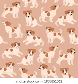 Cartoon happy jack russell terrier - simple trendy pattern with dogs. Flat vector illustration for prints, clothing, packaging and postcards.