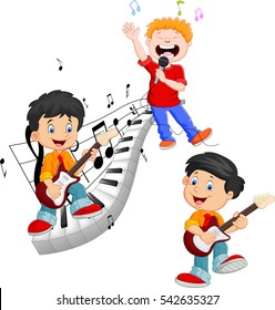 Cartoon happy kids singing and playing music