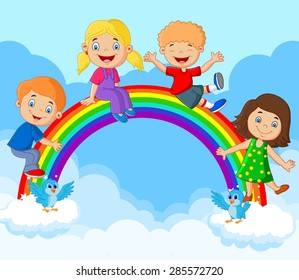 Cartoon Happy kids sitting on rainbow