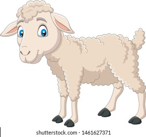Cartoon happy lamb isolated on white background