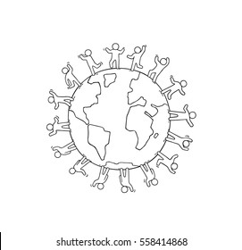 Cartoon happy little people standing around the world. Doodle cute miniature scene about unity and planet. Hand drawn vector illustration