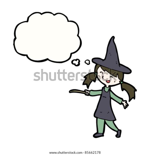 cartoon happy little witch