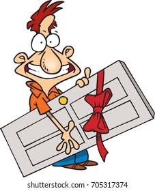cartoon happy man holding a door wrapped in a red bow