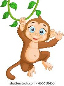 Cartoon happy monkey hanging