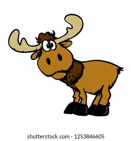 Cartoon happy moose with big horns
