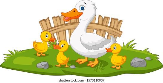 Cartoon happy mother duck and ducklings