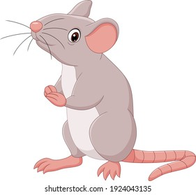 Cartoon happy mouse on white background