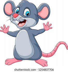 Cartoon happy mouse waving
