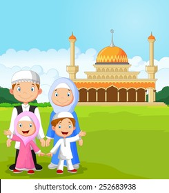 Cartoon happy Muslim family