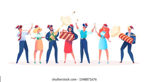 Cartoon happy office colleagues celebrating christmas together. Vector smiling workers having fun holding champagne glasses, present boxes, whistle and firecracker