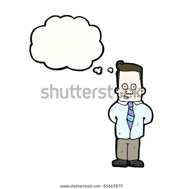 cartoon happy office worker with thought bubble