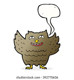 cartoon happy owl with speech bubble