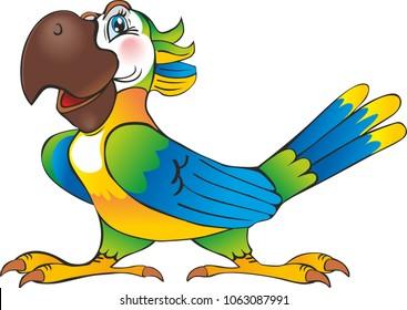 Cartoon happy parrot - IllustrationAnimal, Bird, Smiling, Illustration, Parrot