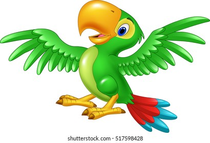 Cartoon happy parrot isolated on white background