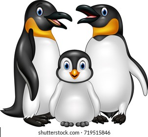 Cartoon happy penguin family isolated on white background