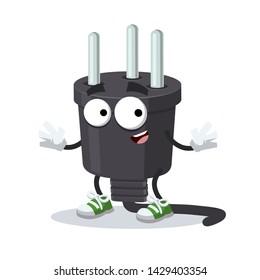 cartoon happy power plug type H mascot smiling on white background