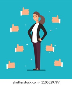 Cartoon happy proud businesswoman leader with many thumbs up hands. Business acknowledgement and customers voting vector concept. Business woman manager, professional job illustration