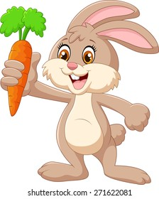 Cartoon happy rabbit holding carrot