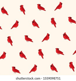 Cartoon happy red cardinally - simple trendy pattern with bird. Flat vector illustration for prints, clothing, packaging and postcards.
