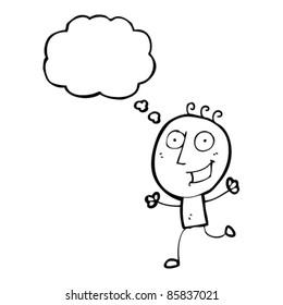 cartoon happy running doodle man