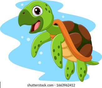 Cartoon happy sea turtle swimming