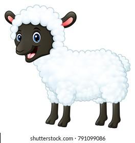 Cartoon happy sheep smiling