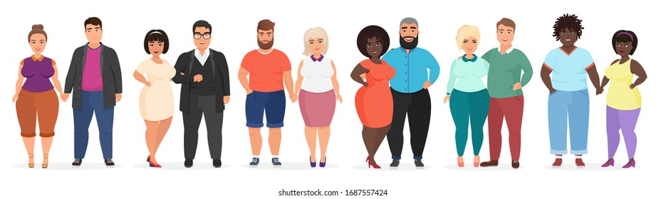 Cartoon happy smiling plus size people couples. Man and woman together in love. Curvy, overweight fat people in casual dress clothes vector illustration.