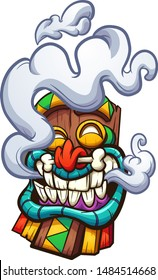 Cartoon happy smoking Tiki mask  clip art. Vector illustration with simple gradients. All in a single layer. \r\n
