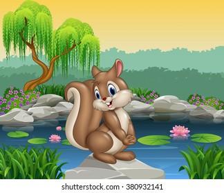 Cartoon happy squirrel posing