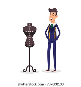 Cartoon happy tailor couture with a centimeter ribbon around his neck. Fashion designer standing near the dummy. Seamstress with tape measure. Dressmaker and female mannequin. Tailors fashion stand