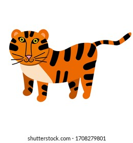 Cartoon happy tiger in flat style isolated on white background. Vector illustration.