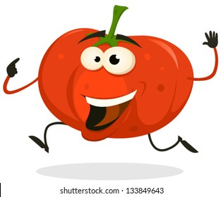 Cartoon Happy tomato Character Running/ Illustration of a funny happy and healthy cartoon tomato vegetable character running