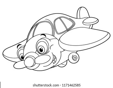 cartoon happy traditional plane with propeller smiling and flying - vector coloring page for children