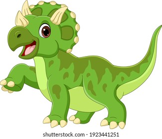 Cartoon happy triceratops on white background