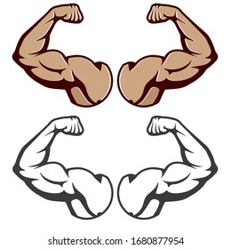 Cartoon hard muscle. Strong arm, boxer arms muscles and strength from hard gym. Arm fitness guy with hands, body muscle flexing or strong biceps logo. Isolated vector illustration icons set