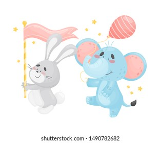 Cartoon hare and elephant in the parade. Vector illustration on a white background.