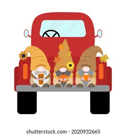 Cartoon harvest fall vector gnomes in red old truck with orange pumpkin, coffee cup, mug with cream, dry leaves. Isolated on white background.