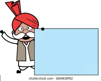 Cartoon Haryanvi Old Man with Blank Banner