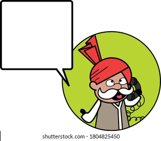 Cartoon Haryanvi Old Man Calling on Cell Phone