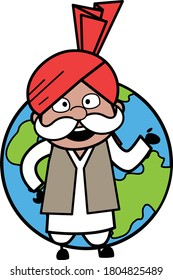 Cartoon Haryanvi Old Man with planet earth