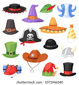 Cartoon hat vector comic cap for celebrating birthday party or Chrisrmas with headwear or head-dress illustration set of funny headgear cowboy pirate or elf isolated on white background